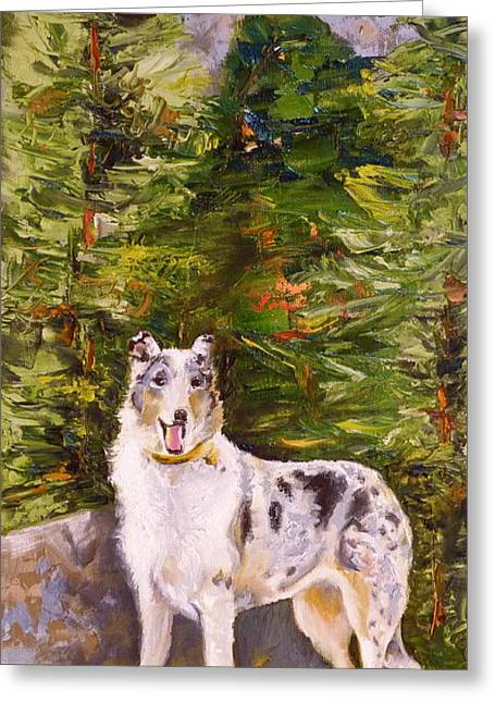Smooth Collie Hiker Greeting Card by Susan A Becker