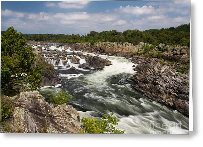 Smooth Flow At Great Falls  Greeting Card
