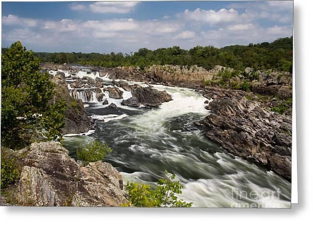 Smooth Flow At Great Falls  Greeting Card