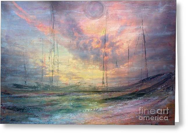 Smooth Sailing Greeting Card by Jessie Art