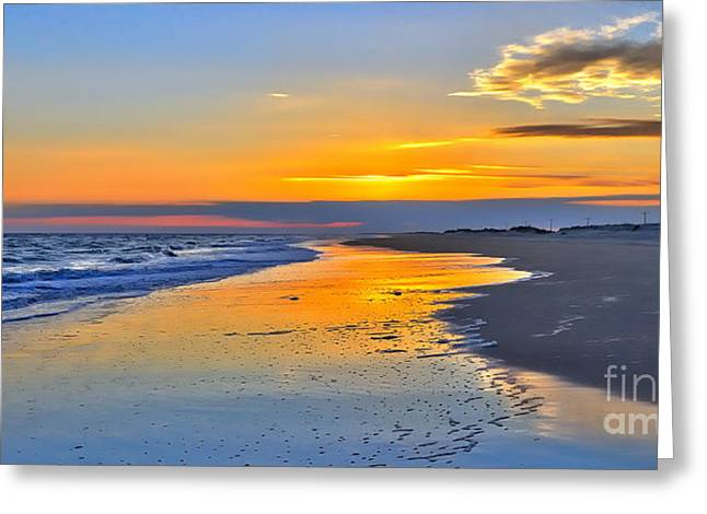 Smooth Sunset On Ocracoke Outer Banks Greeting Card by Dan Carmichael