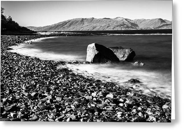 Greeting Card featuring the photograph Smooth Water Rocky Beach And Mountains by Dennis Dame