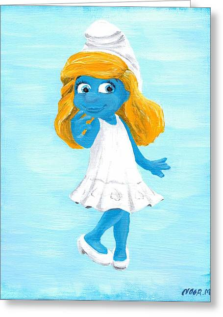 Smurfette Greeting Card by Noor Moghrabi