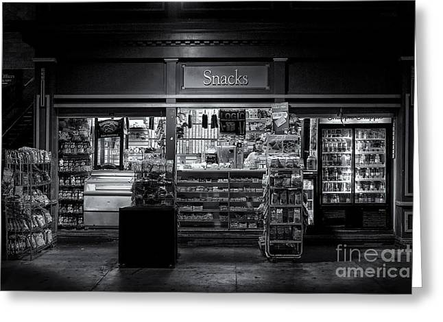 Snack Shop Bw Greeting Card by Jerry Fornarotto