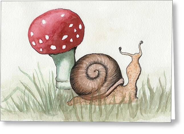 Snail And Mushroom Greeting Card