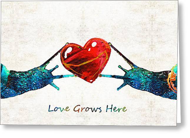Snail Art - Love Grows Here - By Sharon Cummings Greeting Card