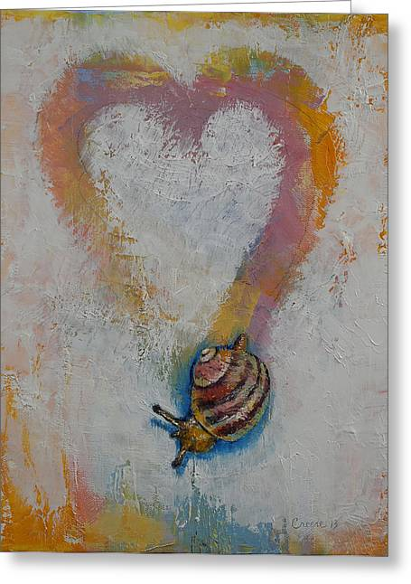 Snail Greeting Card by Michael Creese