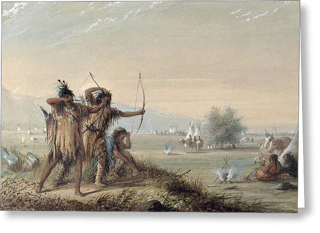 Snake Indians Testing Bows Greeting Card by Alfred Jacob Miller