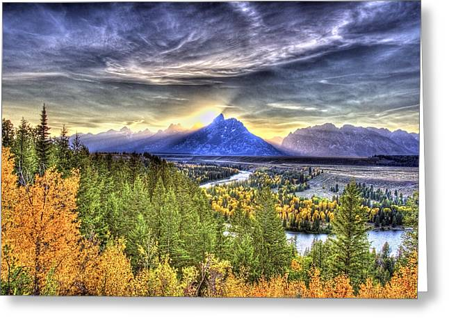 Snake River Over Look Fall Sunset Greeting Card