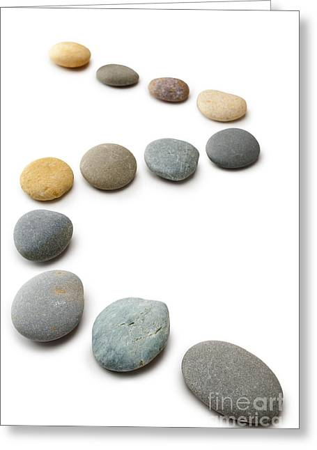 Snaking Line Of Twelve Pebbles Steps Isolated Vertical Greeting Card by Colin and Linda McKie