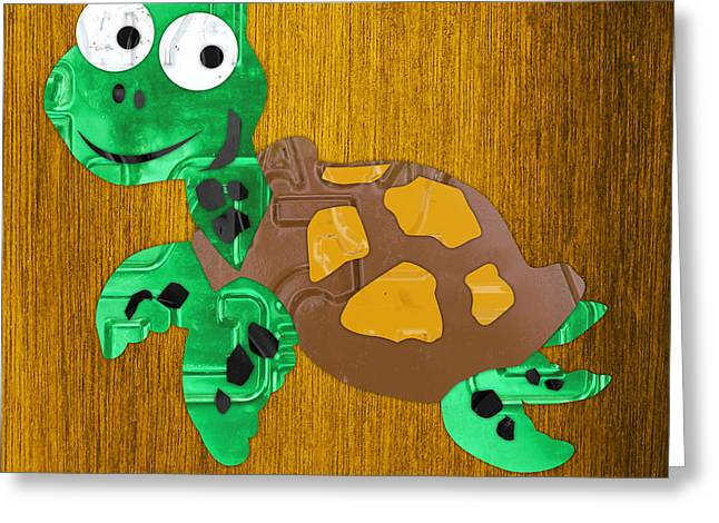 Snap The Sea Turtle License Plate Art Greeting Card by Design Turnpike