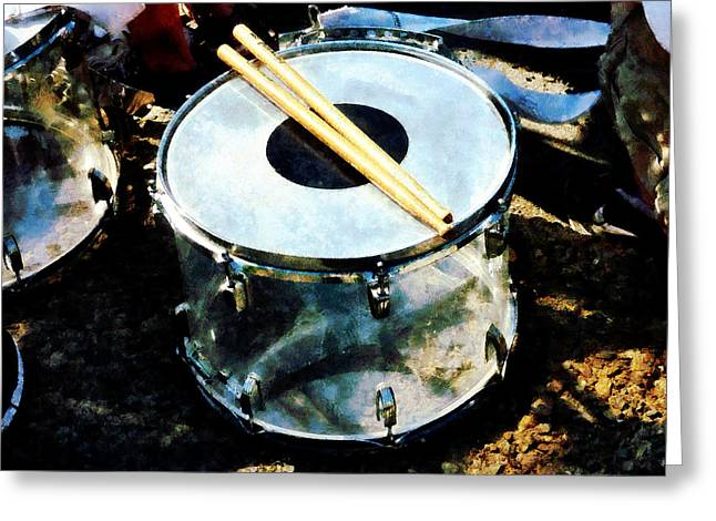 Drum Greeting Cards - Snare Drum Greeting Card by Susan Savad