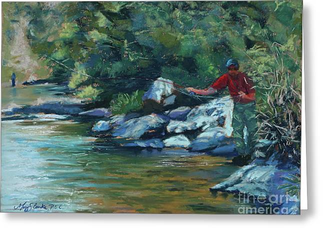 Flyfishing Pastels Greeting Cards - Sneaking Up on a Rainbow Greeting Card by Mary Benke
