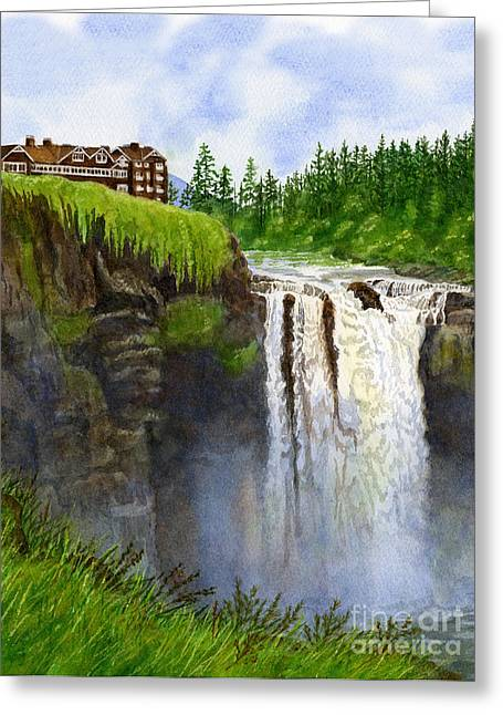 Snoqualmie Falls Vertical Design Greeting Card by Sharon Freeman