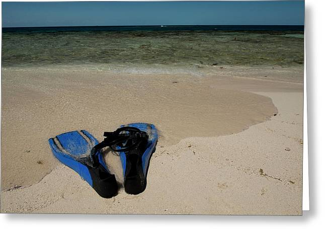 Snorkel Set On The Beach, Caribbean Greeting Card