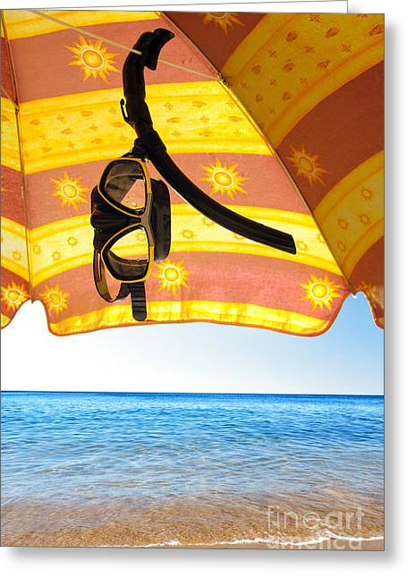 Snorkeling Glasses Greeting Card by Carlos Caetano