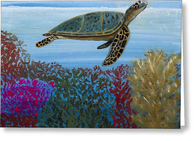 Snorkeling Maui Turtle Greeting Card