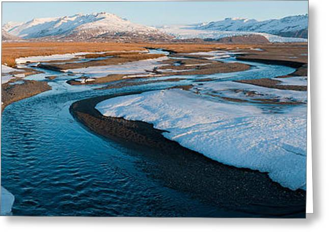 Snow Along A River With Mountains Greeting Card by Panoramic Images