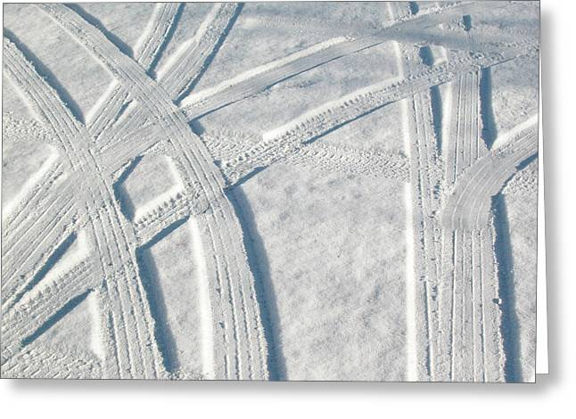 Snow And Car Tracks Greeting Card by Rob Huntley