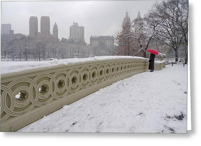 Snow At Bow Bridge Greeting Card