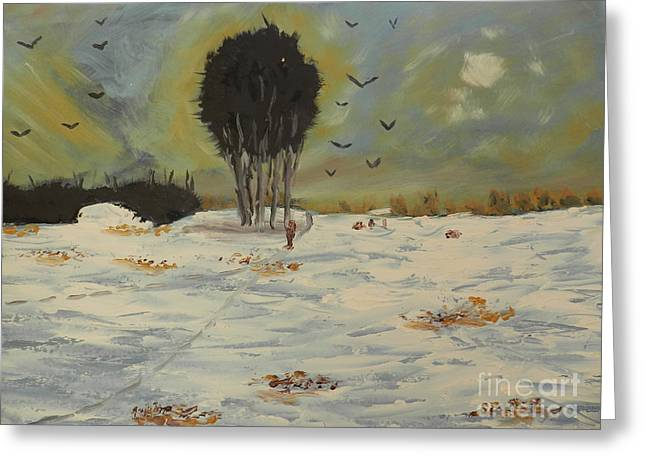 Greeting Card featuring the painting Snow At Christmas by Pamela  Meredith