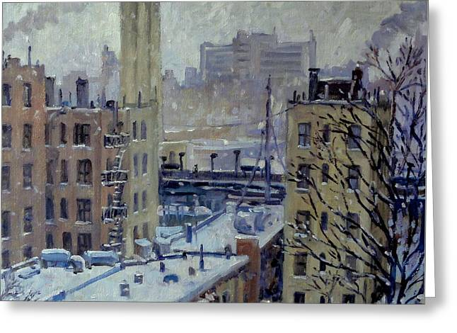 Snow At Dusk New York City Greeting Card