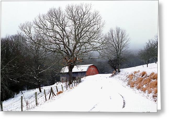 Snow Barn Red Door 2007 Greeting Card
