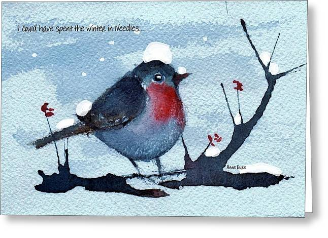 Greeting Card featuring the painting Snow Bird From Needles by Anne Duke