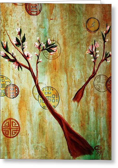 snow blossoms II Greeting Card by Christine Maeda