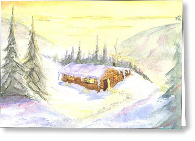 Greeting Card featuring the painting Snow Cabin Welcome by Sherril Porter