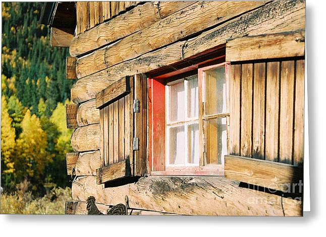 Snow Cabin Window Greeting Card