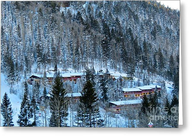 Snow Cabins Greeting Card
