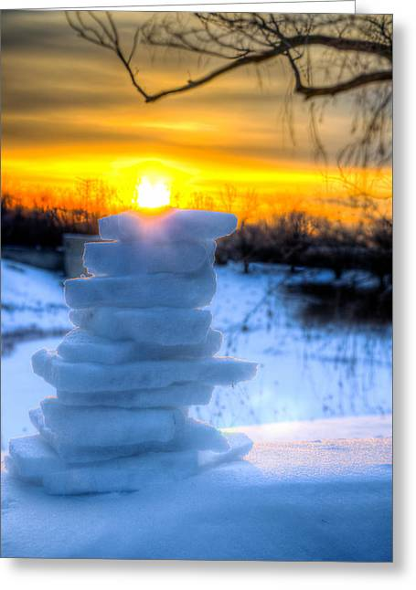 Snow Candle - North Of Chicago 1-8-14 Greeting Card by Michael  Bennett