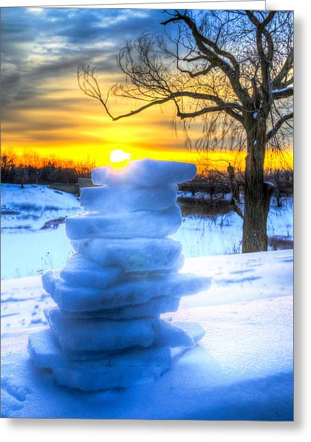 Snow Candle - Sunrise North Of Chicago 1-8-14 002  Greeting Card by Michael  Bennett