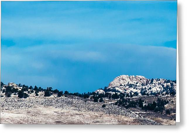 Snow-capped Horsetooth Rock Greeting Card