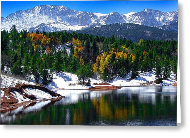 Snow Capped Pikes Peak At Crystal  Greeting Card by John Hoffman