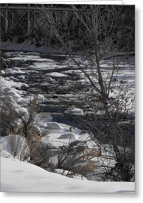 Snow Capped Stream Greeting Card by Adam Cornelison