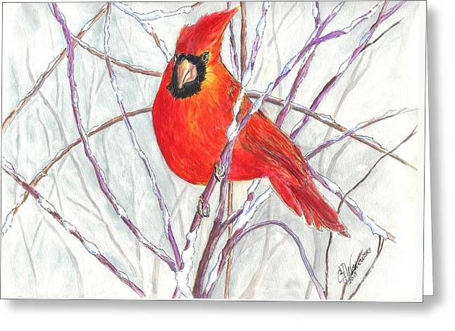 Snow Cardinal Greeting Card by Carol Wisniewski