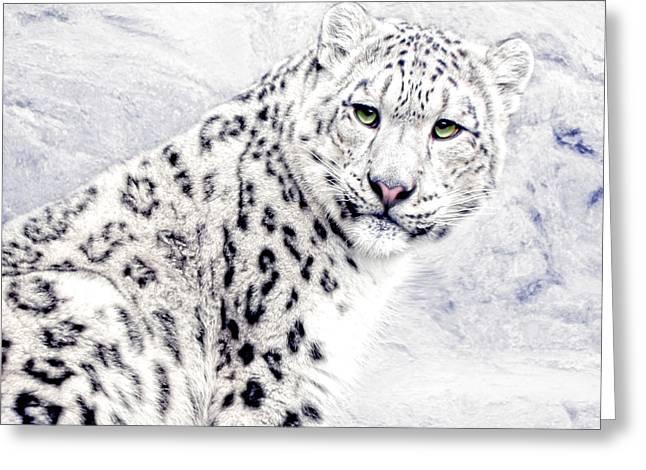 Snow Cat Greeting Card by Joachim G Pinkawa