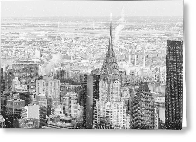Snow - Chrysler Building And New York City Skyline Greeting Card by Vivienne Gucwa