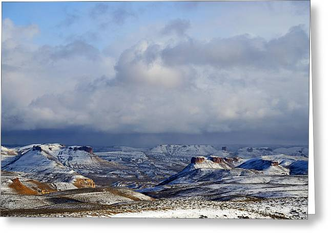 Snow Clouds Over Flaming Gorge Greeting Card by Eric Nielsen