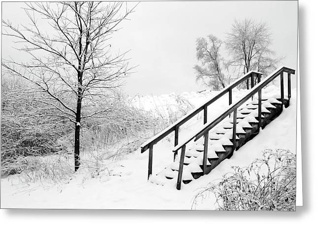Snow Cover Stairs Greeting Card