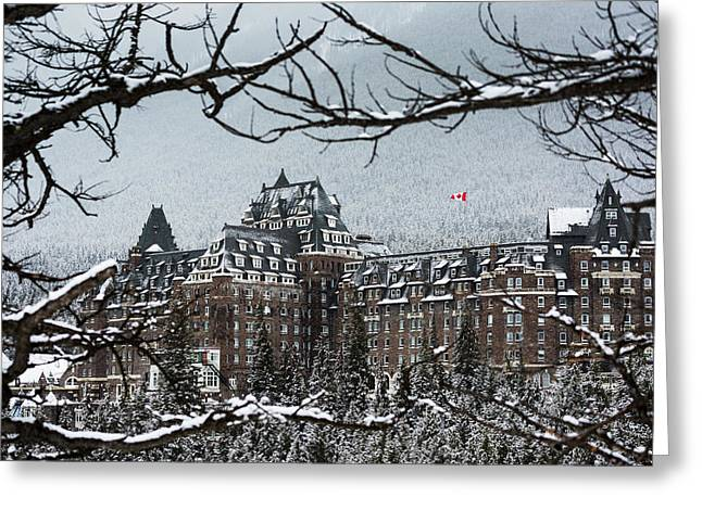 Snow Covered Banff Springs Hotel Framed Greeting Card by Michael Interisano