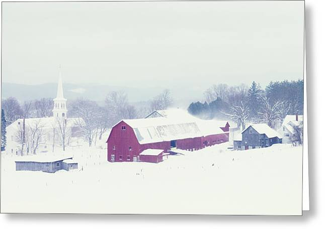 Snow Covered Barn And A Church Greeting Card by Panoramic Images