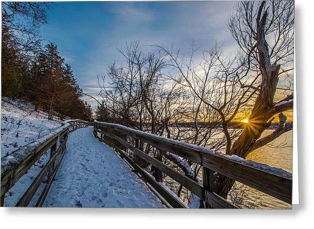 Snow Covered Boardwalk Greeting Card