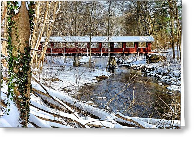 Greeting Card featuring the photograph Snow Covered Bridge by Janice Drew
