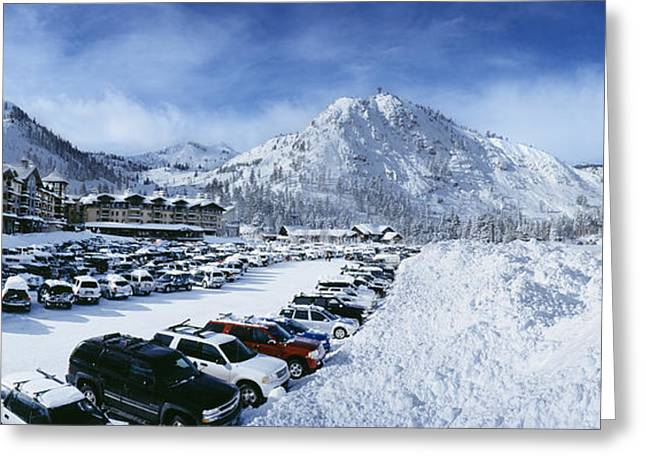 Snow Covered Cars In A Parking Lot Greeting Card by Panoramic Images