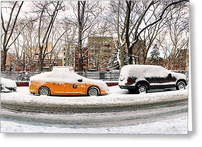 Snow Covered Cars Parked On The Street Greeting Card by Panoramic Images