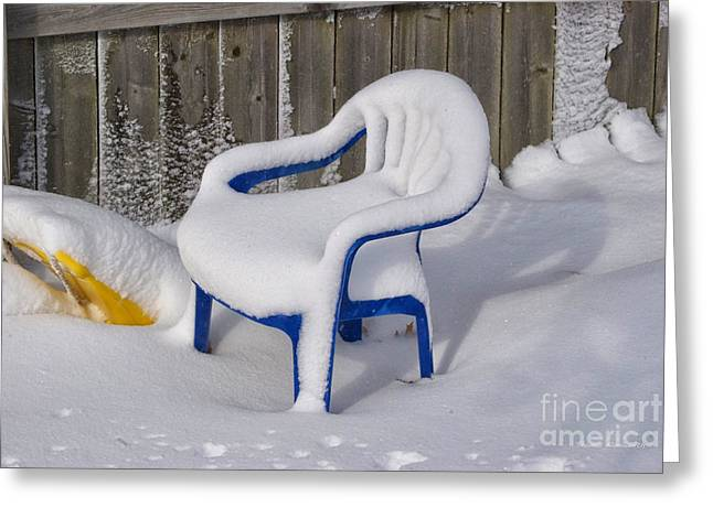 Snow Covered Chair Greeting Card by Thomas Woolworth
