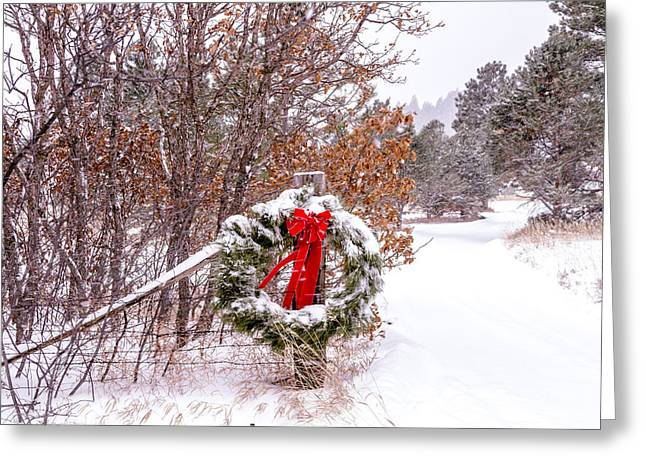 Snow Covered Christmas Wreath Greeting Card by Teri Virbickis